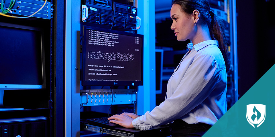 woman working in computer server room