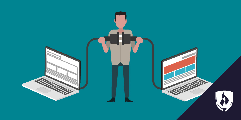 illustration of a man connecting two computers