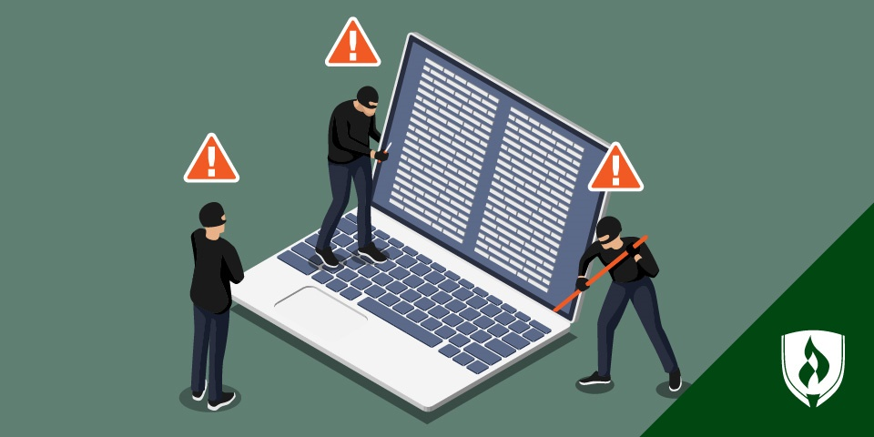illustration of robbers breaking into a laptop