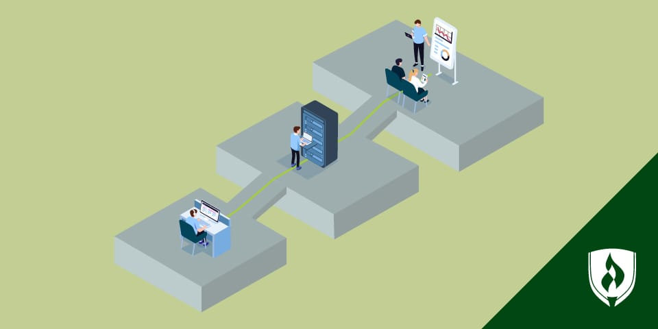 illustration of it professionals working on different steps with IT managers presenting at the top