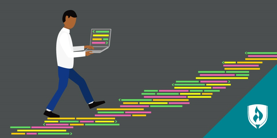 illustration of coder walking up a staircase made of code