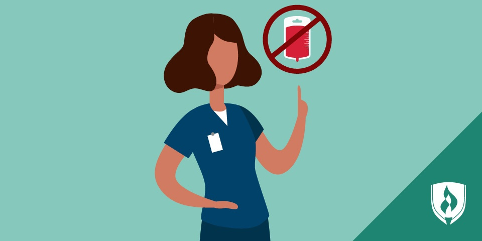 medical professional in scrubs with a no blood icon above her head