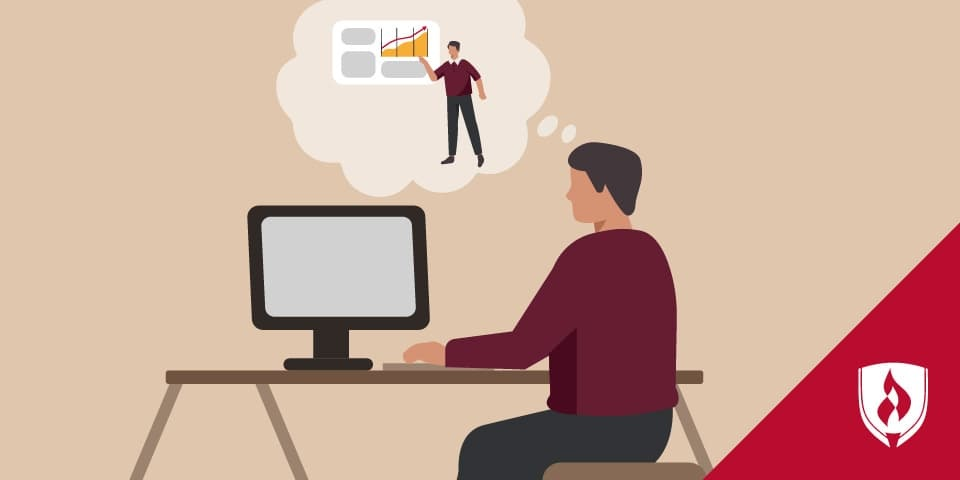 illustration of man working at computer but envisioning himself presenting a sales pitch