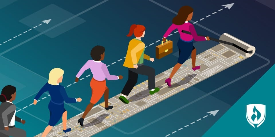 illustration of women in business casual walking on a trail that looks like a motherboard