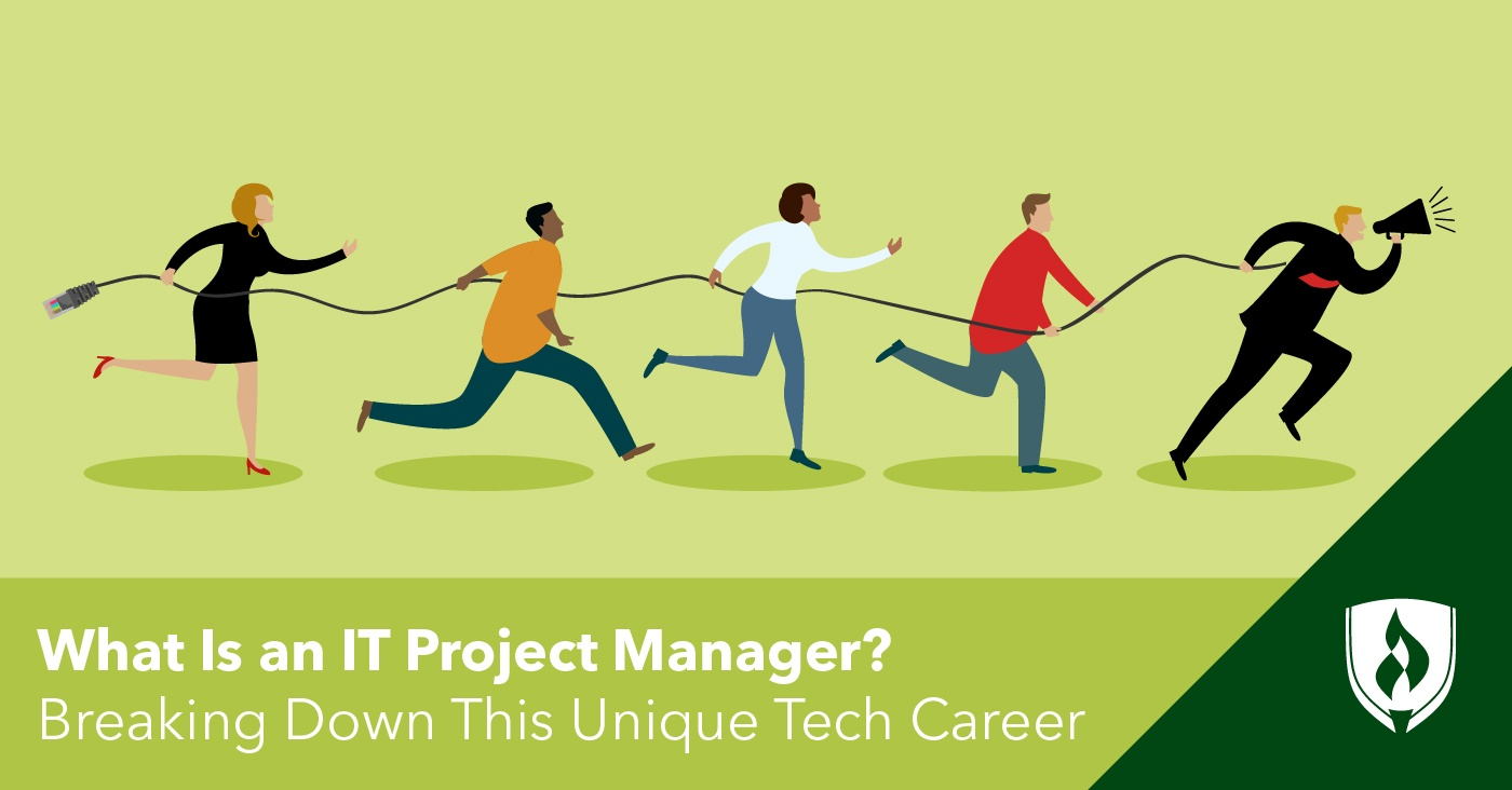 illustration of an it team running with the it project manager leading the way
