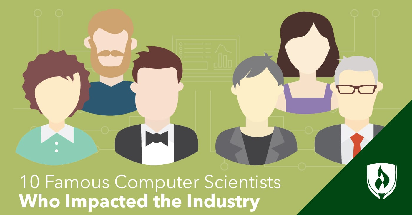 illustration of famous male and female computer scientists