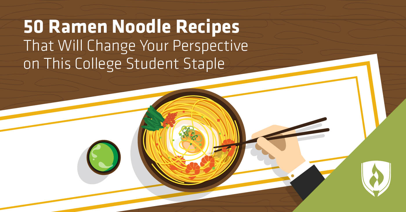 illustration of someone eating a bowl of ramen noodles with chop sticks