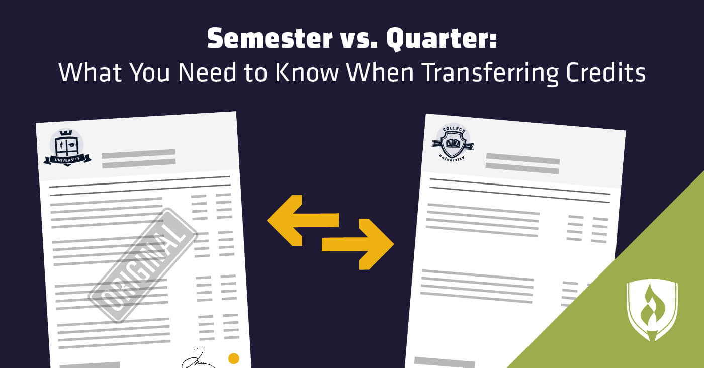 illustration showing transfer credit papers between two schools