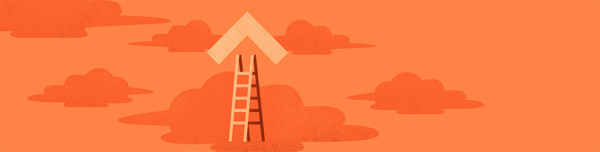 An illustrated orange ladder leads up into a cloud filled sky.