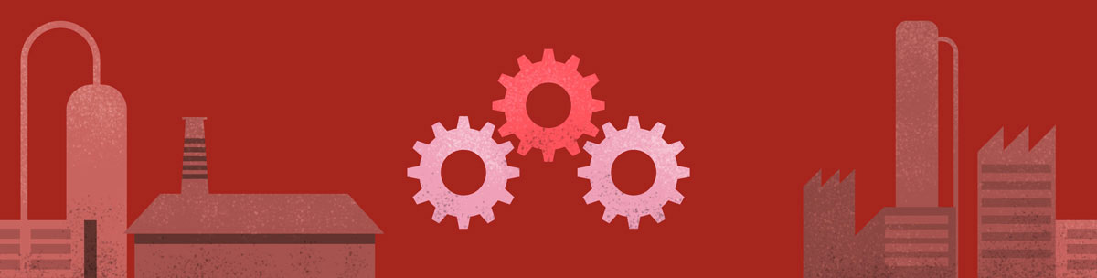 Illustrated graphic showing gears and industry in shades of red.