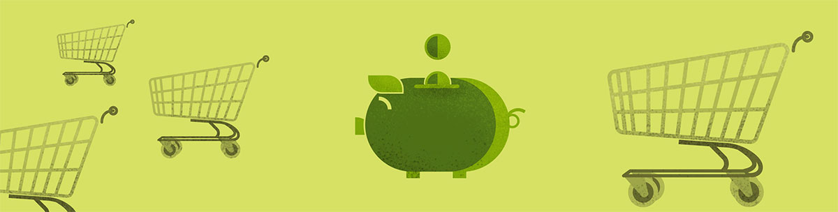 A green piggy bank floats in space with shopping carts behind it.